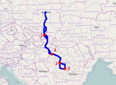 Mapa trasy z zaznaczonymi kolejnymi noclegami