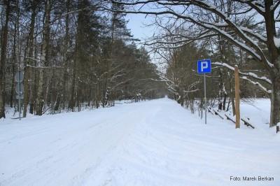 Parking Pociecha - droga z Truskawia biała ale przejezdna