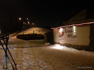 """Restauracja """"Dziki Młyn"""" przy górce w Parku Moczydło"""