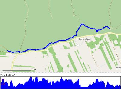 """Mapa oraz wykres wysokości odcinka """"górskiego"""""""