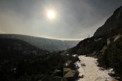 Dojście do Kotła Małego Stawu niebieskim szlakiem