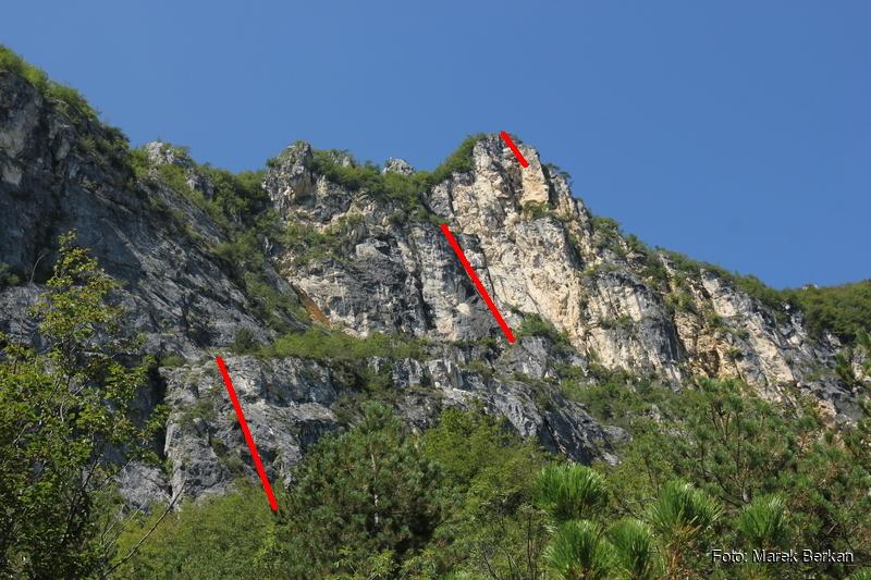 """Zaznaczone drabiny - główne trudności na ferracie """"dell'AMICIZIA"""""""