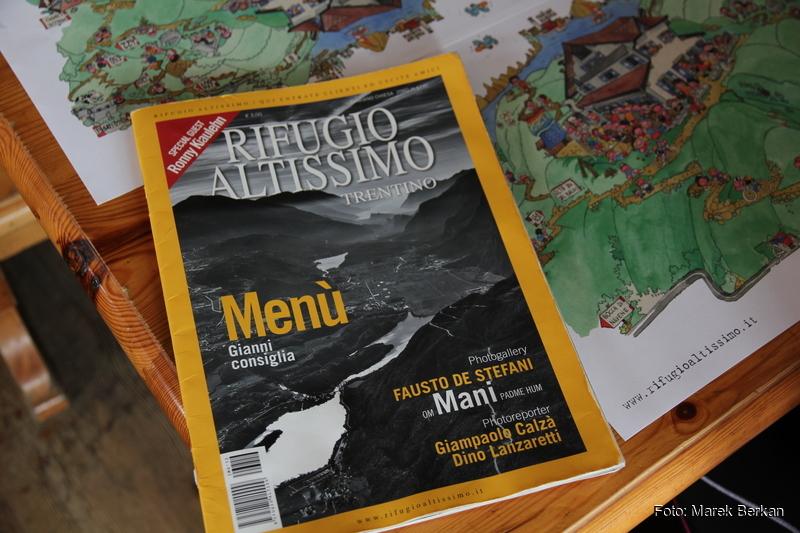 Menu w schronisku Monte Altissimo (2079 m n.p.m.)