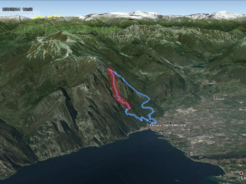Widok trasy w Google Earth, na czerwono zaznaczony fragment ferraty