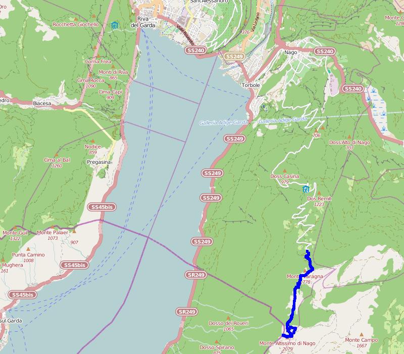Mapa trasy na Monte Altissimo