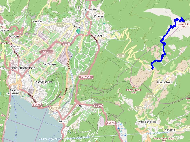 Mapa trasy na Monte Stivo