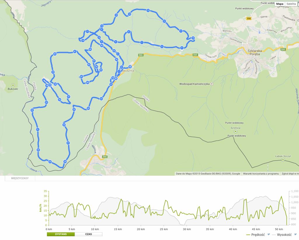 Ścieżka GPS z 39. Biegu Piastów (51 km CT)