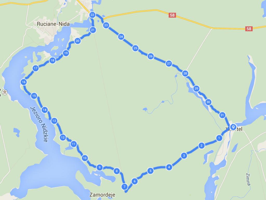 Mapa trasy wzdłuż jeziora Nidzkiego