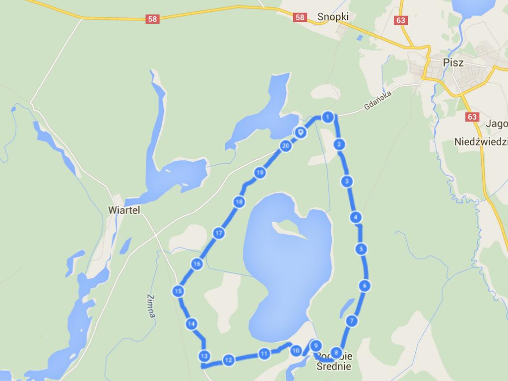 Mapa trasy wokół jeziora Pogubie Wielkie