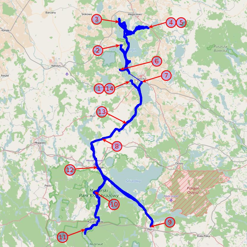Mapa z zaznaczonymi noclegami