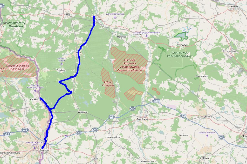 Bory Dolnośląskie - mapa trasy z przewodnika 4x4