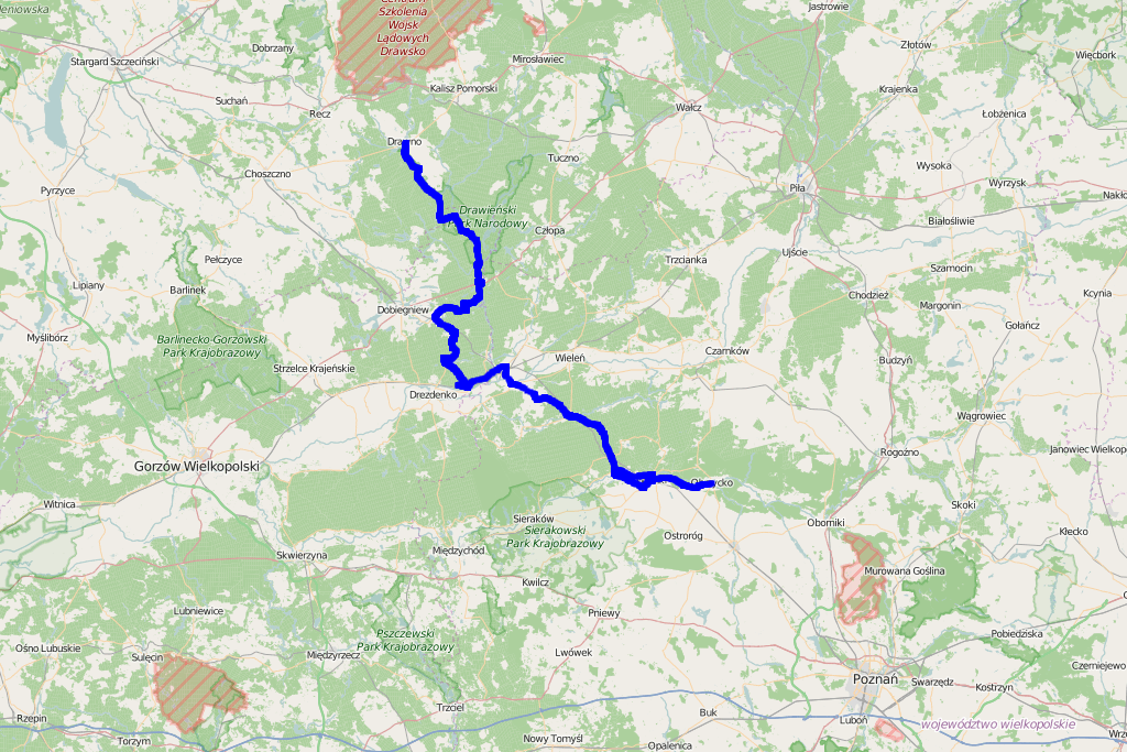 Mapa trasy Puszcza Notecka i Drawska z przewodnika 4x4