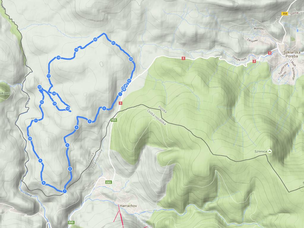 Ścieżka GPS z biegu 25 km CT