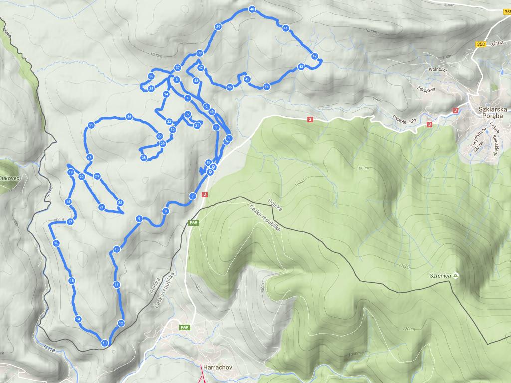 Ścieżka GPS z biegu 50 km CT