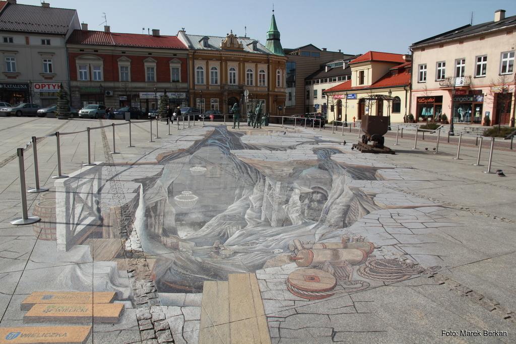 Malowidło 3D na rynku w Wieliczce