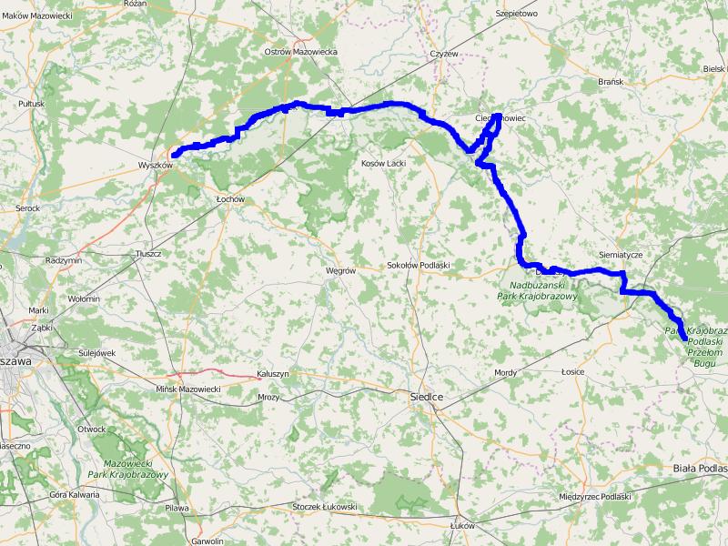 "Mapa trasy ""Wdłuż Bugu"""