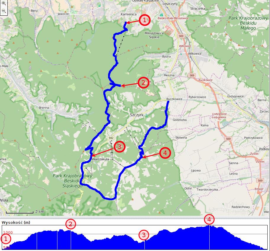 Beskid Śląski - zapis ścieżki GPS