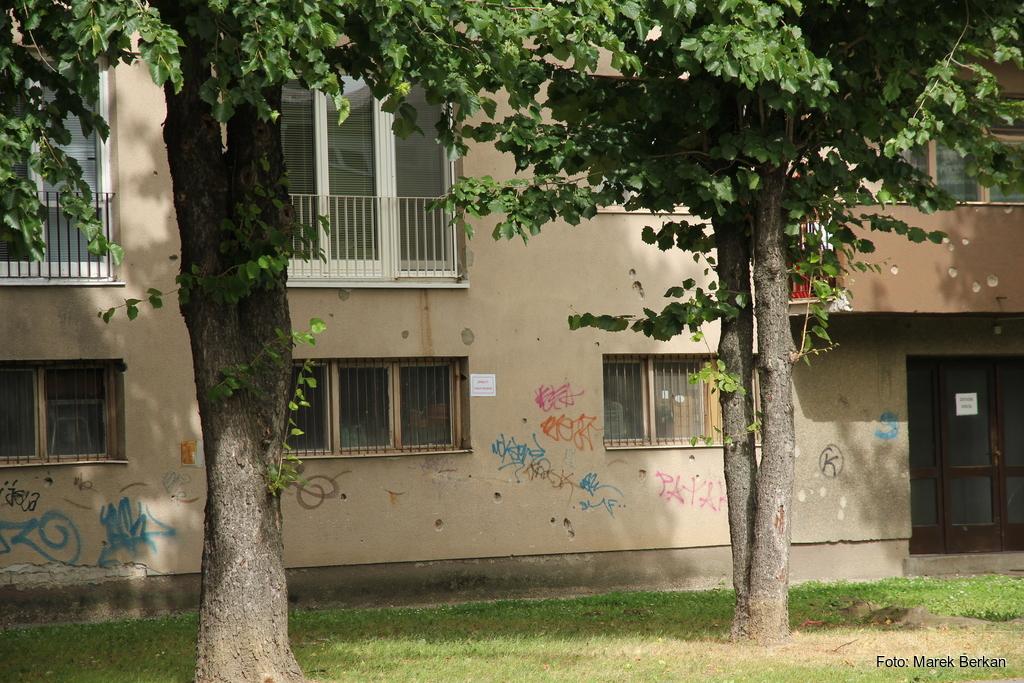 Osijek - ślady kul po wojnie z Serbią