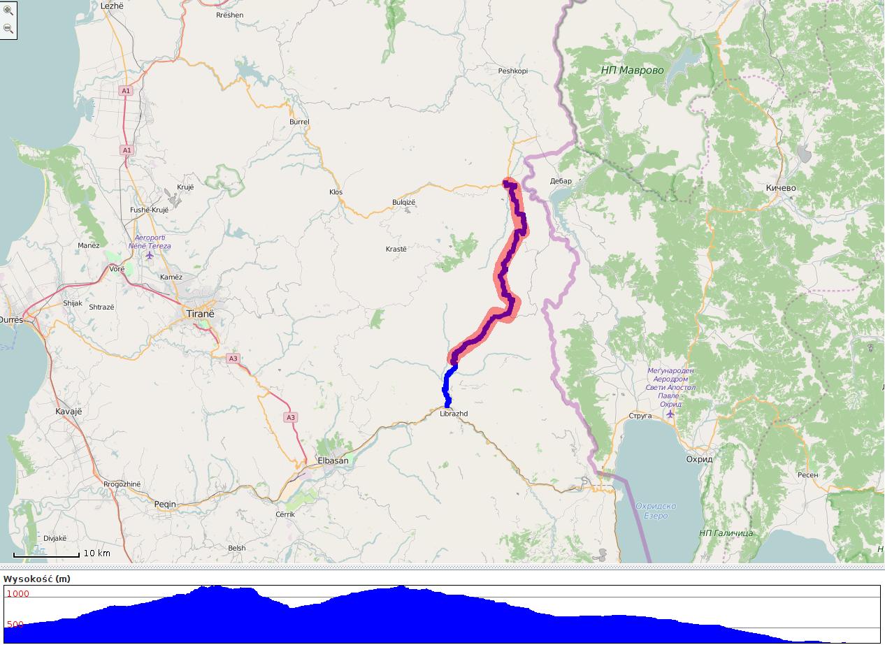 Droga Shupenze - Librazhd - mapa