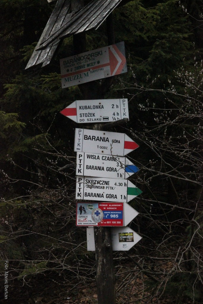 Znaki szlaków przy Schronisku na Polanie Przysłop