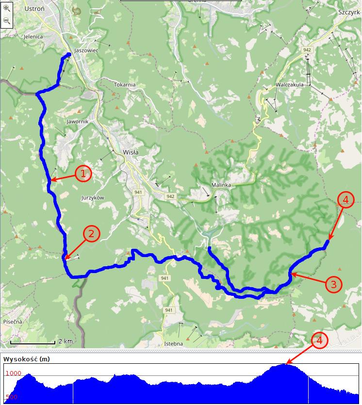Ścieżka GPS z zaznaczonymi noclegami i Baranią Górą