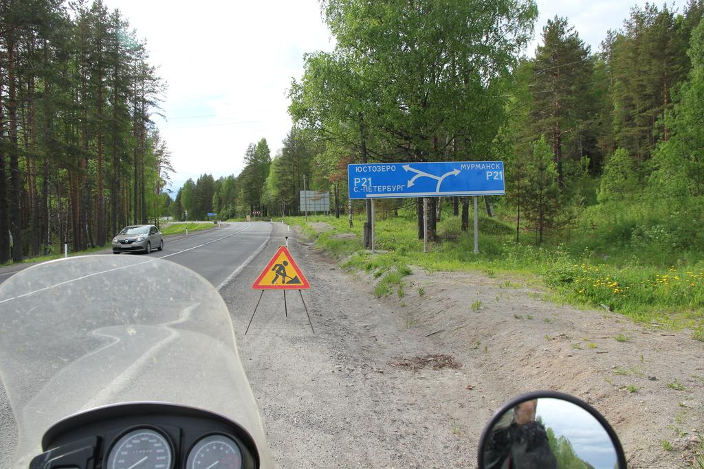Karelia - skrzyżowanie z drogą na północ, do Murmańska