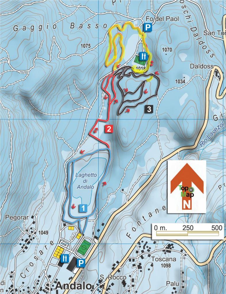 Andalo - schemat tras biegowych