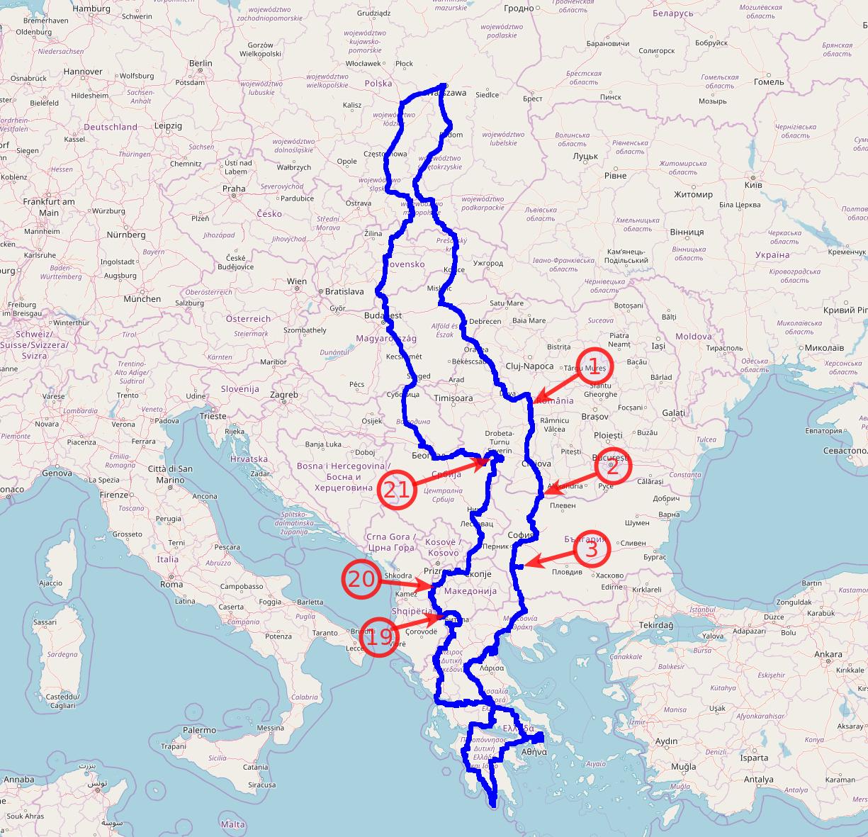 Mapa całej trasy